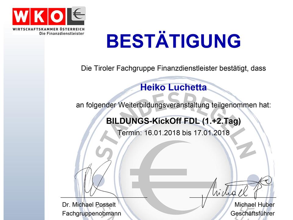 Fortbildung KickOff-Finanzdienstleister